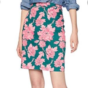 J.Crew Factory Floral Pencil Skirt Green Pink